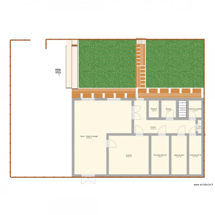 maison rez de chauss e plan 11 pi ces 90 m2 dessin par chloe473. Black Bedroom Furniture Sets. Home Design Ideas