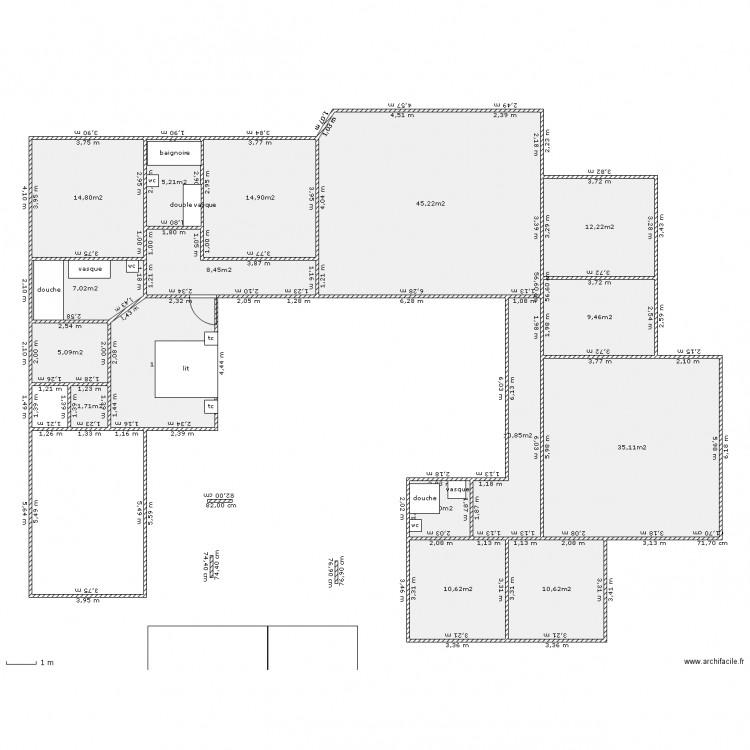 maison en u 170 maxi - Plan 16 pièces 210 m2 dessiné par laetitianils