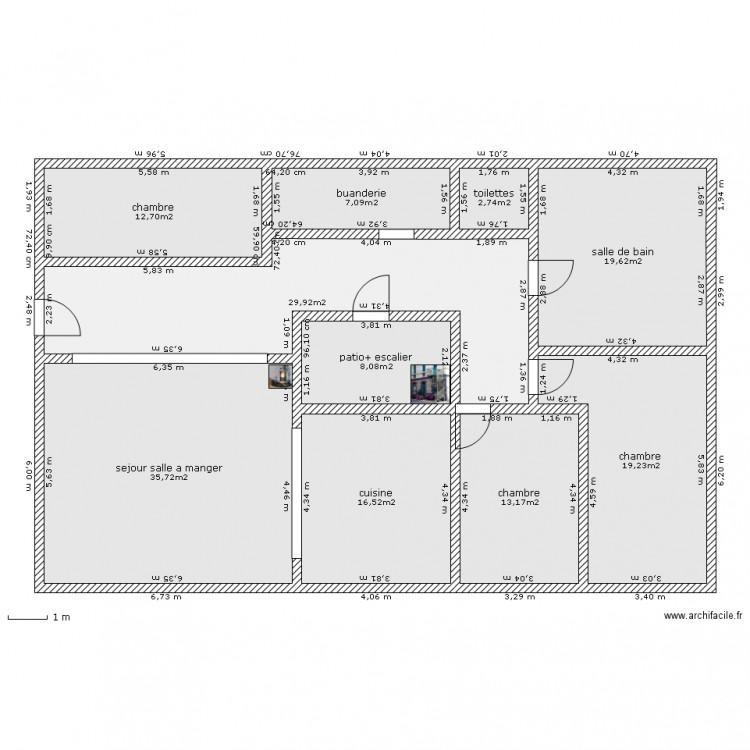 Maison plain pieds plan 10 pi ces 165 m2 dessin par vicoun for Budget construction maison 130 m2