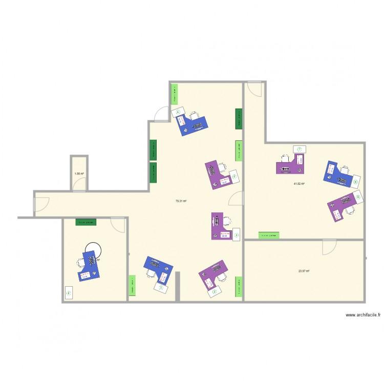 Bureau plan 5 pi ces 164 m2 dessin par gtsolb for Nombre de m2 par personne bureau