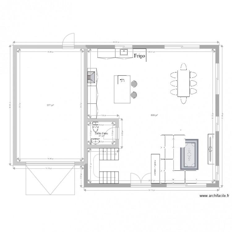Maison dagenais 2 plan 3 pi ces 113 m2 dessin par sarah4469 - Plan de maison 2 pieces ...