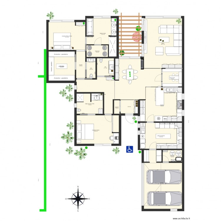 18 avril maison seule plan 19 pi ces 204 m2 dessin par for Je dessine ma maison