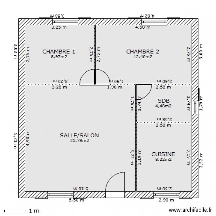maison 1 plan 5 pi ces 60 m2 dessin par kenza14590. Black Bedroom Furniture Sets. Home Design Ideas