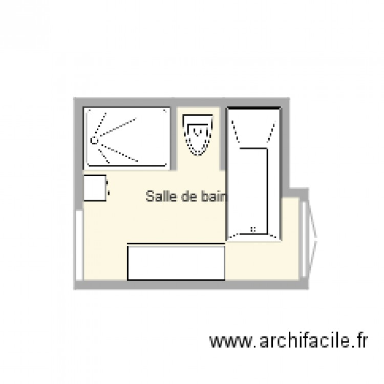 salle de bain plan 1 pi ce 6 m2 dessin par tcja. Black Bedroom Furniture Sets. Home Design Ideas