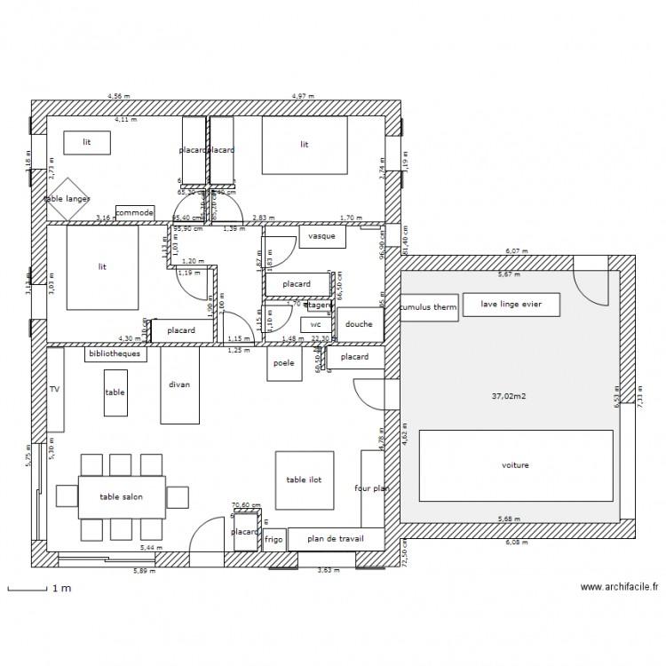 Maison avec placards meubl plan 1 pi ce 37 m2 dessin for Modifier plan maison
