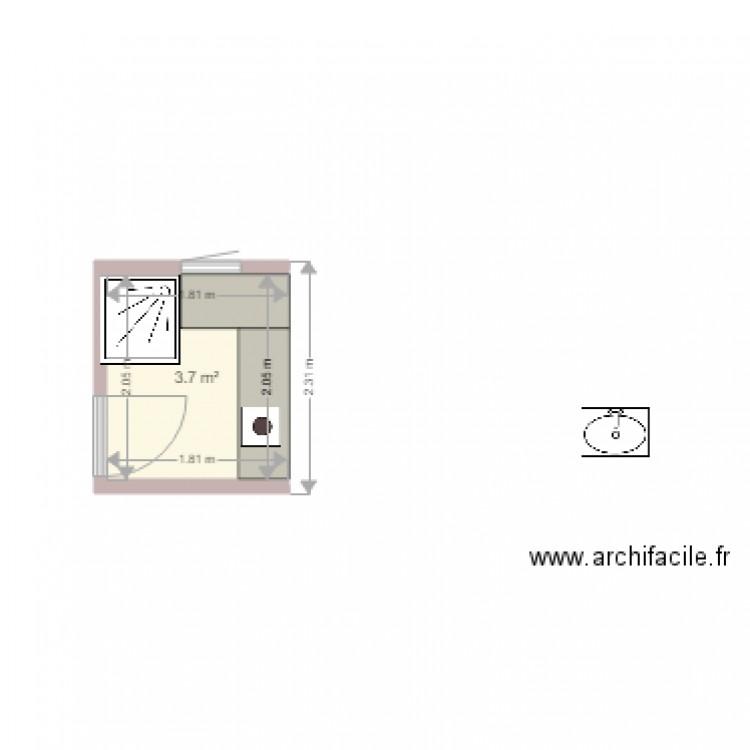 Salle de bain plan 1 pi ce 4 m2 dessin par corse for Salle de bain 4 m2