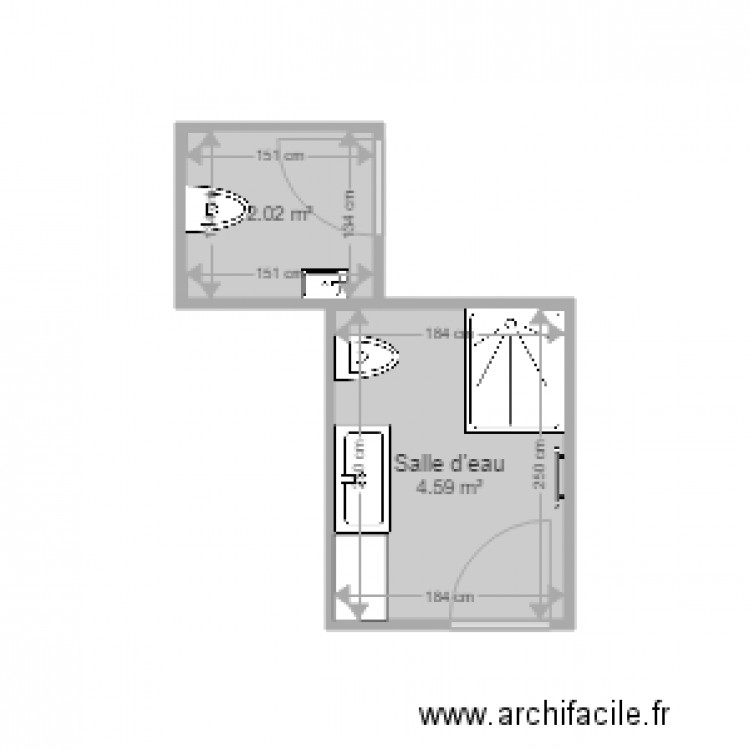 wc et sdb plan 2 pi ces 7 m2 dessin par dominique gertaldi. Black Bedroom Furniture Sets. Home Design Ideas