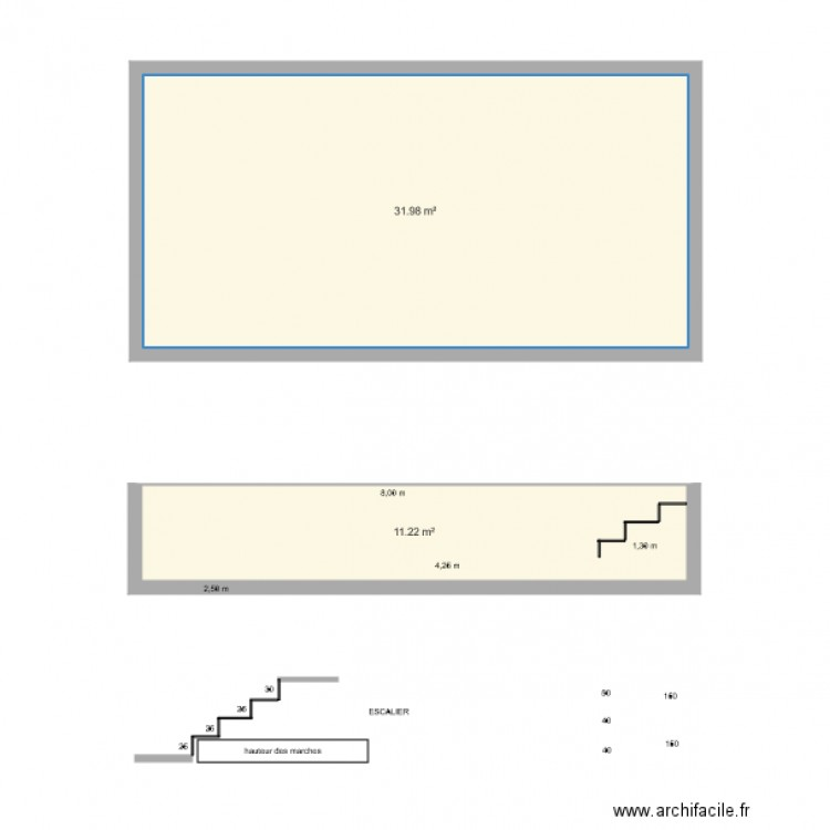 Piscine 8x3 plan 2 pi ces 43 m2 dessin par philippe069 for Piscine 8x3