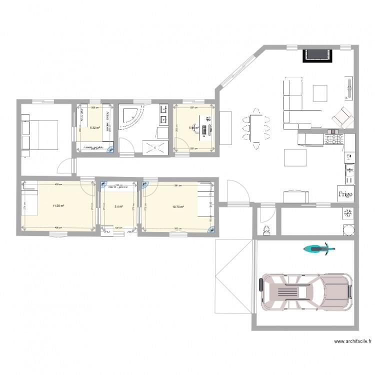 Plan 3 ch buro plan 5 pi ces 39 m2 dessin par paubena79 for Buro en ligne
