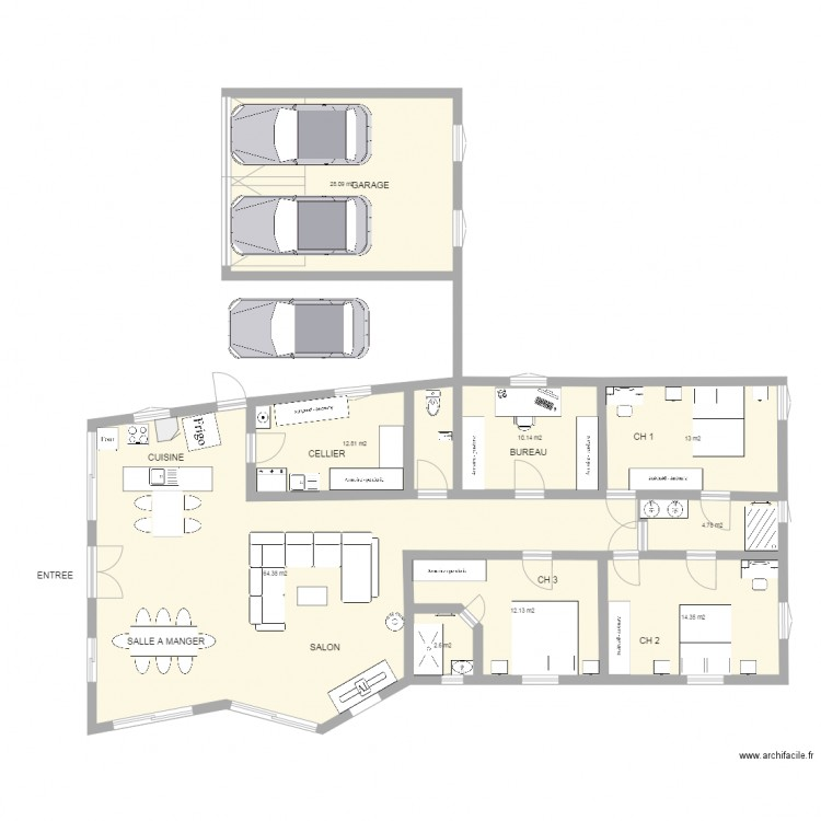3eme plan maison plan 9 pi ces 162 m2 dessin par for 162 plan