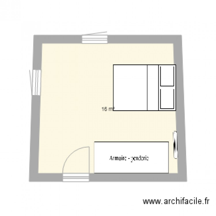 Chambre plan 1 pi ce 16 m2 dessin par chonchuta for Chambre one piece