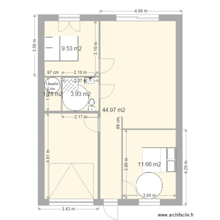 Maison t3 plan 5 pi ces 72 m2 dessin par pat1771 for Plan maison t3