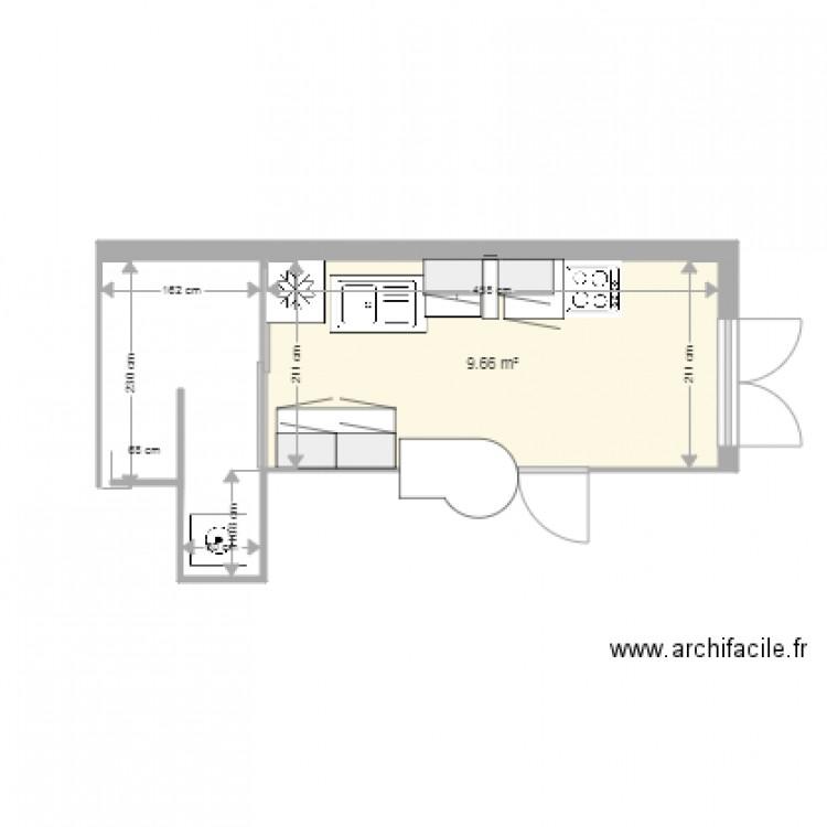 cuisine plan 1 pi ce 10 m2 dessin par palou280. Black Bedroom Furniture Sets. Home Design Ideas