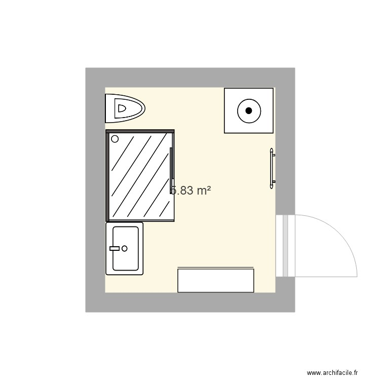 salle de bain 2 plan 1 pi ce 6 m2 dessin par risotto31. Black Bedroom Furniture Sets. Home Design Ideas