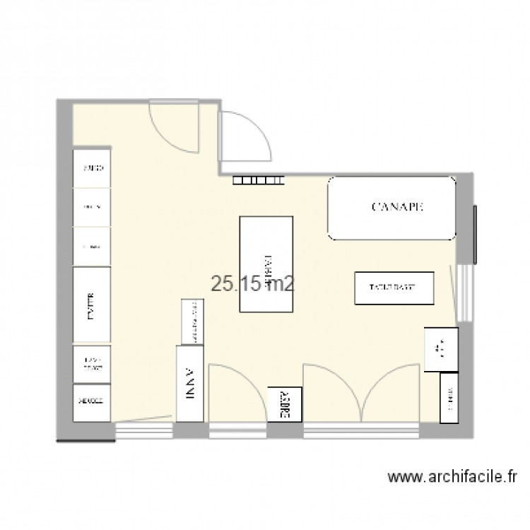 Salon cuisine phase 1 1 plan 1 pi ce 25 m2 dessin par for Cuisine salon 35m2