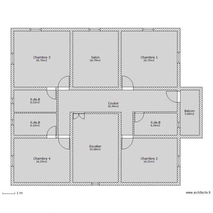 1er maison du maroc plan 11 pi ces 157 m2 dessin par for Plan d une maison marocaine
