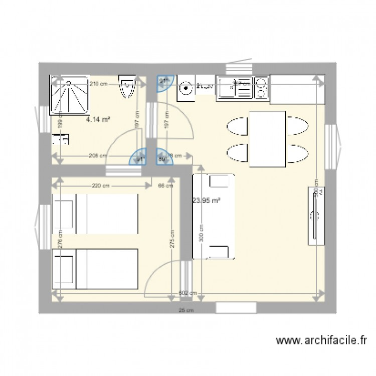 plan 30m2 plan 2 pi ces 28 m2 dessin par karim2a. Black Bedroom Furniture Sets. Home Design Ideas