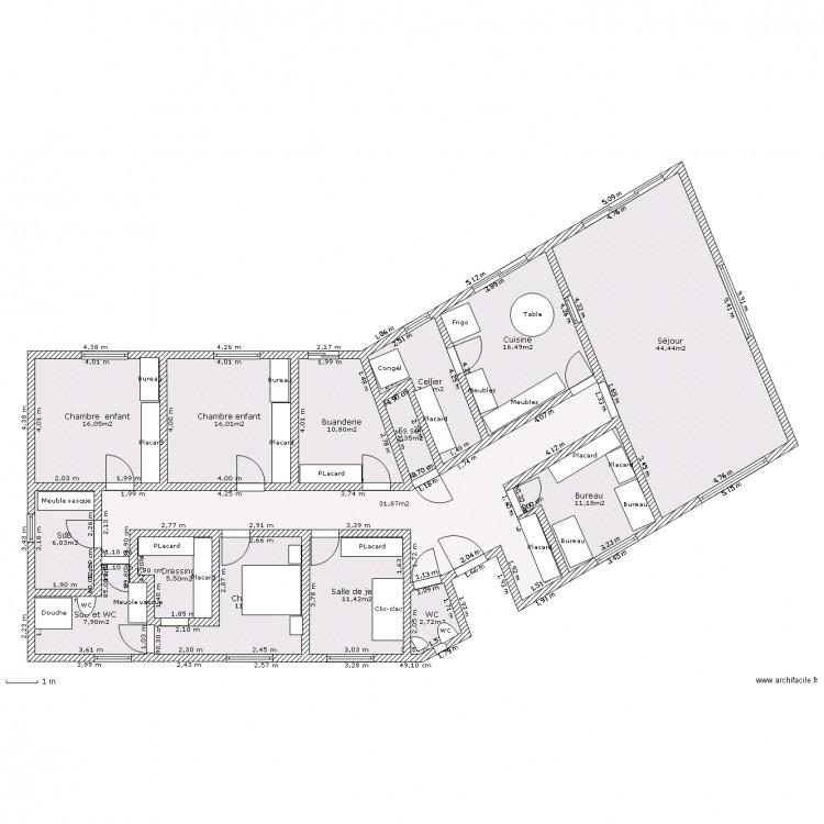 Suite parentale 15m2 excellent cloison bois salle de bain - Plan suite parentale 15m2 ...