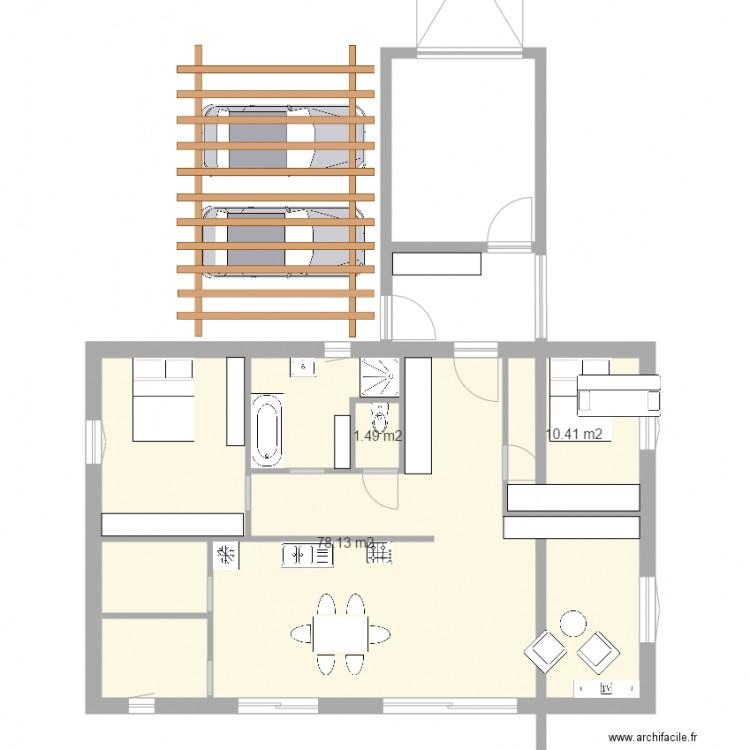 maison plan 2 plan 3 pi ces 90 m2 dessin par zene armando. Black Bedroom Furniture Sets. Home Design Ideas