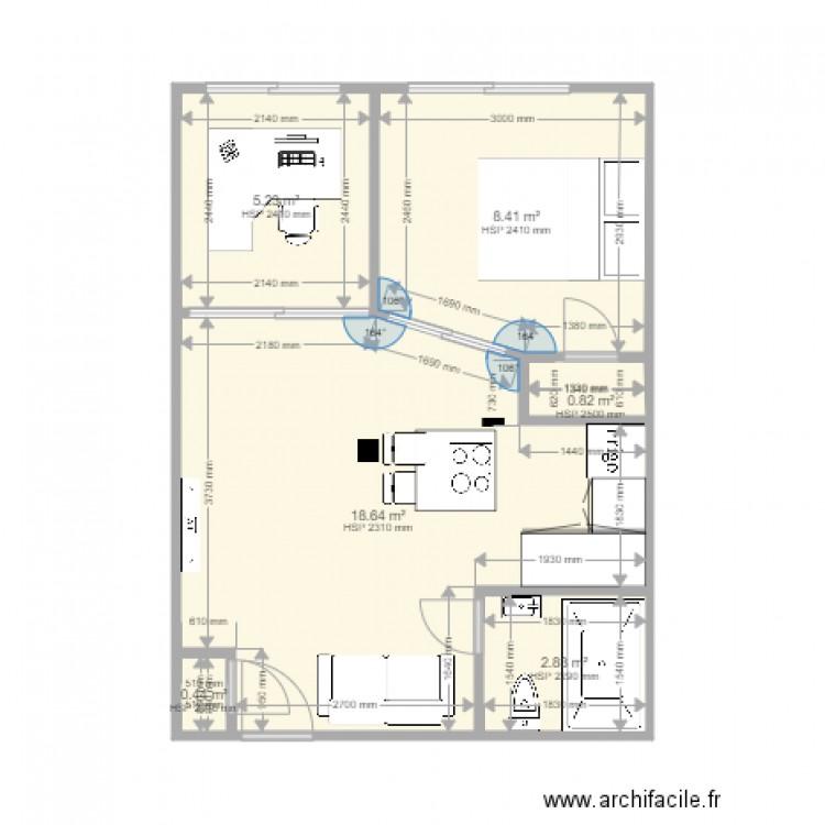 Appartement 02 modifier a mm plan 6 pi ces 36 m2 dessin for Modifier plan maison
