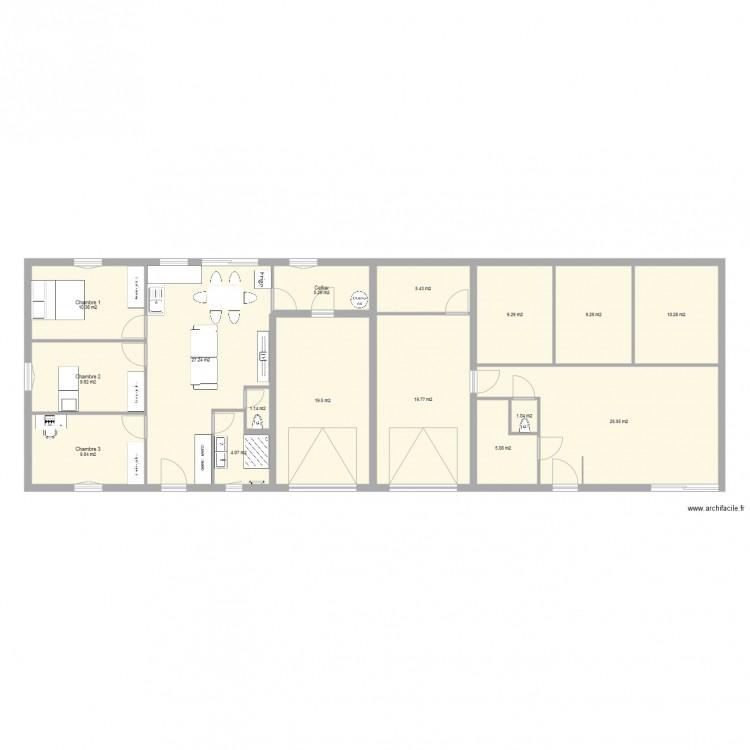 projet maison mitoyenne 3 chambres avec garage plan 16 pi ces 176 m2 dessin par clem70110. Black Bedroom Furniture Sets. Home Design Ideas