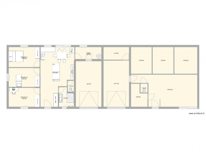 projet maison mitoyenne 3 chambres avec garage plan 16 pices 176 m2 dessin par clem70110 - Plan Maison Mitoyenne Par Le Garage