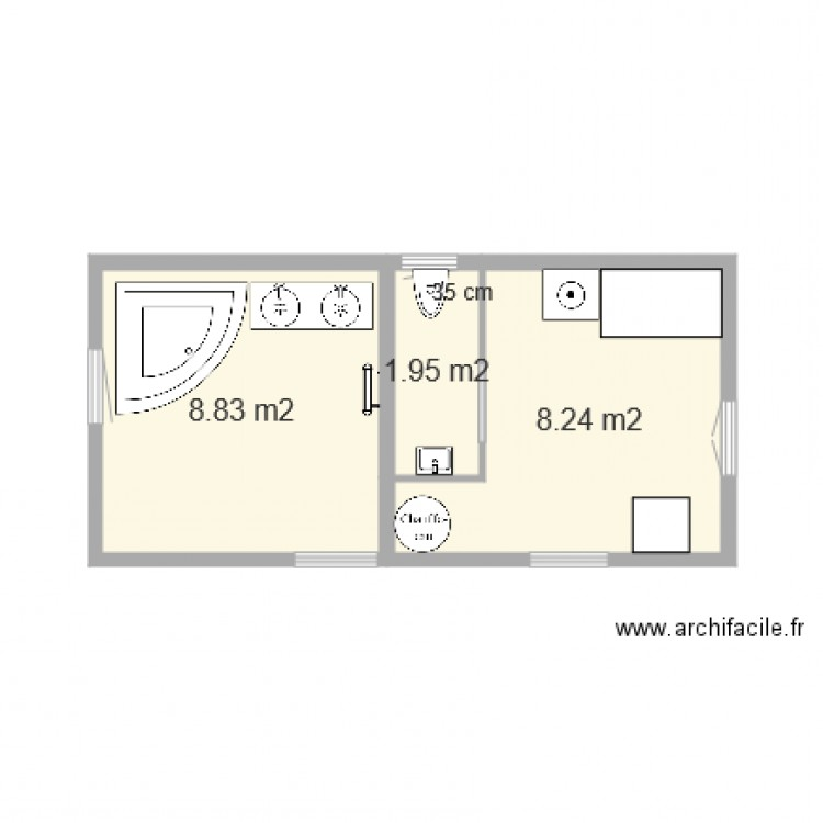 salle de bain 2 plan 3 pi ces 19 m2 dessin par alinos93. Black Bedroom Furniture Sets. Home Design Ideas