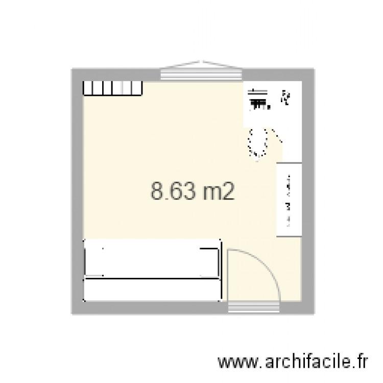 Chambre de lou 2 plan 1 pi ce 9 m2 dessin par zexanti for Chambre 9 m2 minimum
