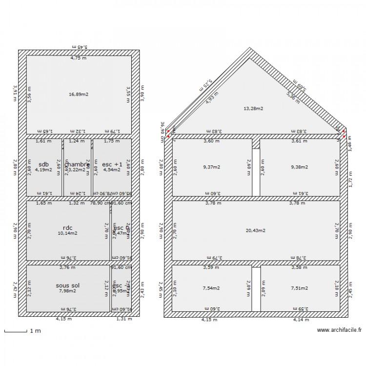 coupe facade et pignon plan 14 pi ces 119 m2 dessin par rouya76. Black Bedroom Furniture Sets. Home Design Ideas