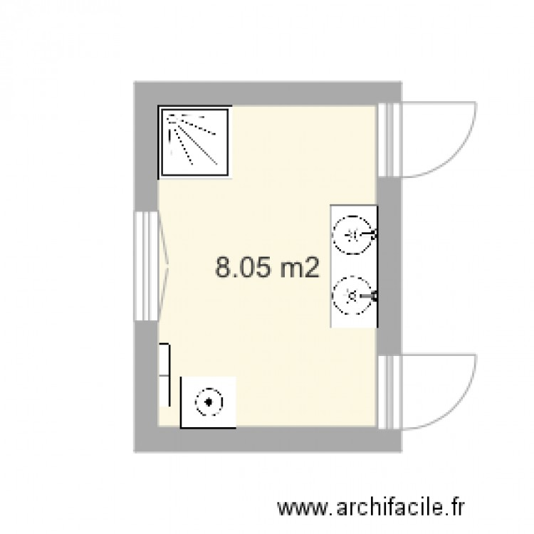 Salle de bain plan 1 pi ce 8 m2 dessin par camette for Salle de bain 6 5 m2