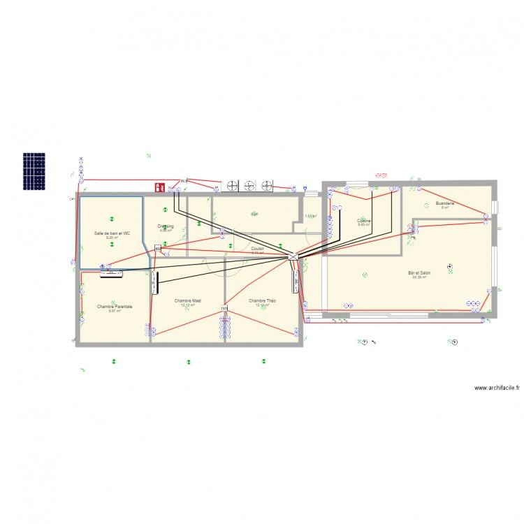 maison electricit plan 11 pi ces 106 m2 dessin par. Black Bedroom Furniture Sets. Home Design Ideas