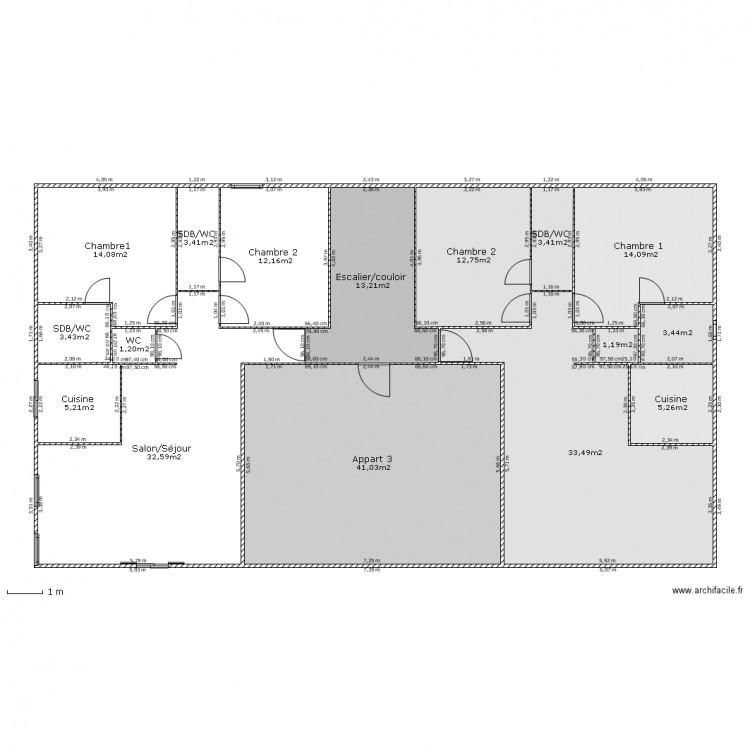 Immeuble etage courant plan 16 pi ces 200 m2 dessin par for Immeuble bureau plan