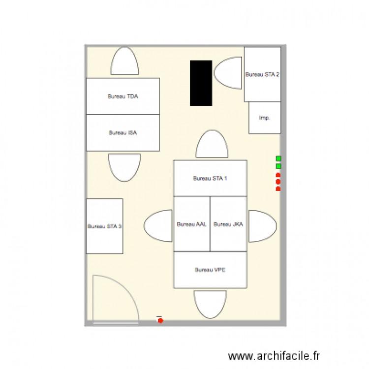 Bureau endurance plan 1 pi ce 26 m2 dessin par carmasport for Nombre de m2 par personne bureau