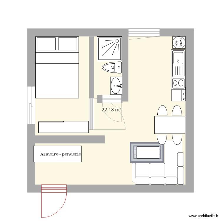 studio 25m2 plan 1 pi ce 22 m2 dessin par lezlez. Black Bedroom Furniture Sets. Home Design Ideas
