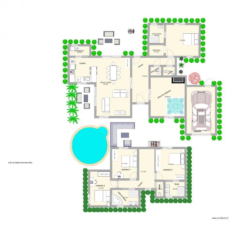 Maison de mes r ves plan 17 pi ces 180 m2 dessin par for Mes plans de maison