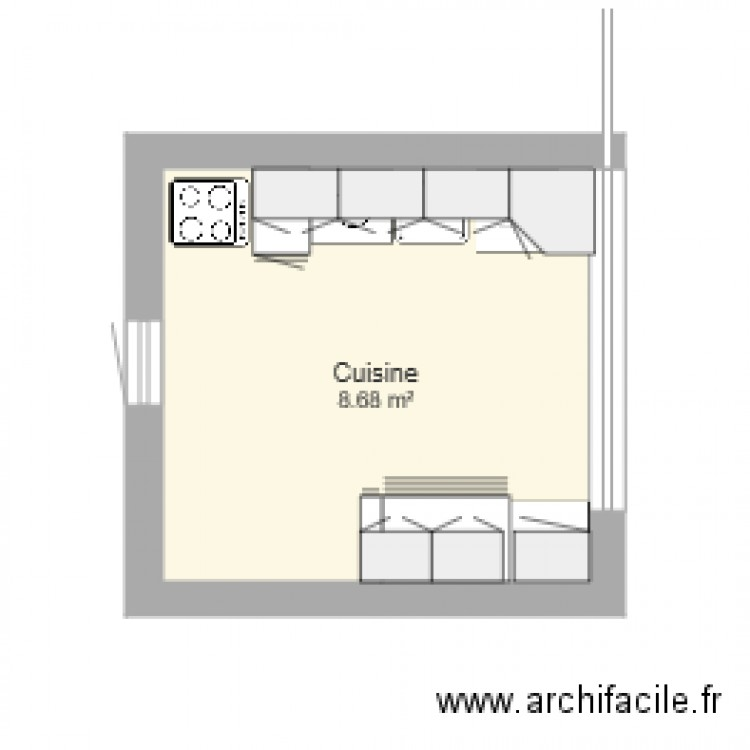 cuisine janvier plan 1 pi ce 9 m2 dessin par monsieur choy. Black Bedroom Furniture Sets. Home Design Ideas