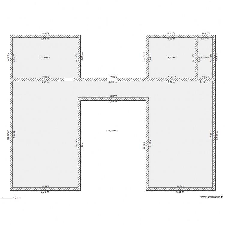 Maison h plan 4 pi ces 163 m2 dessin par moms24 for Plan de maison en h