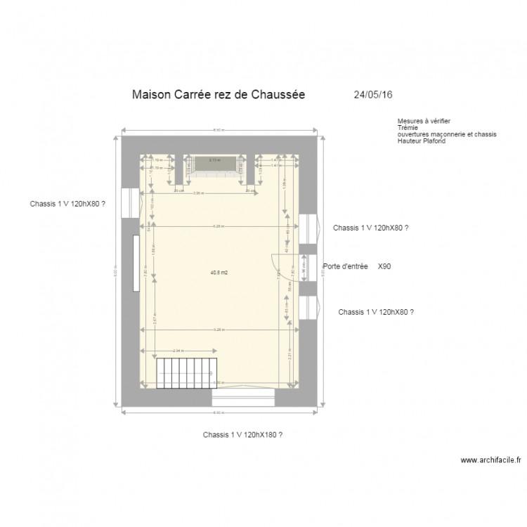 maison carr e rdch plan 1 pi ce 41 m2 dessin par. Black Bedroom Furniture Sets. Home Design Ideas
