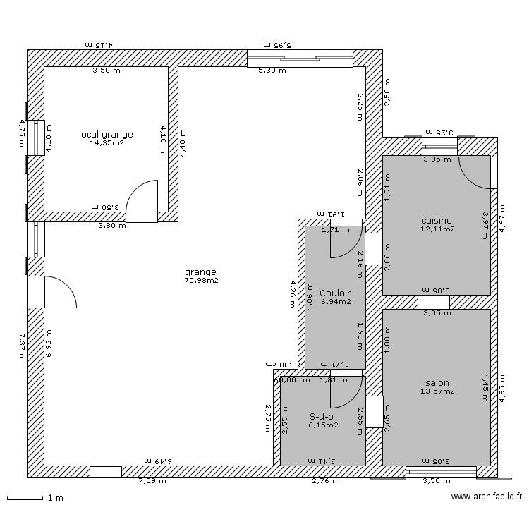 Plan maison r elle r d c avec cote plan 6 pi ces 124 m2 for Plan maison avec cote
