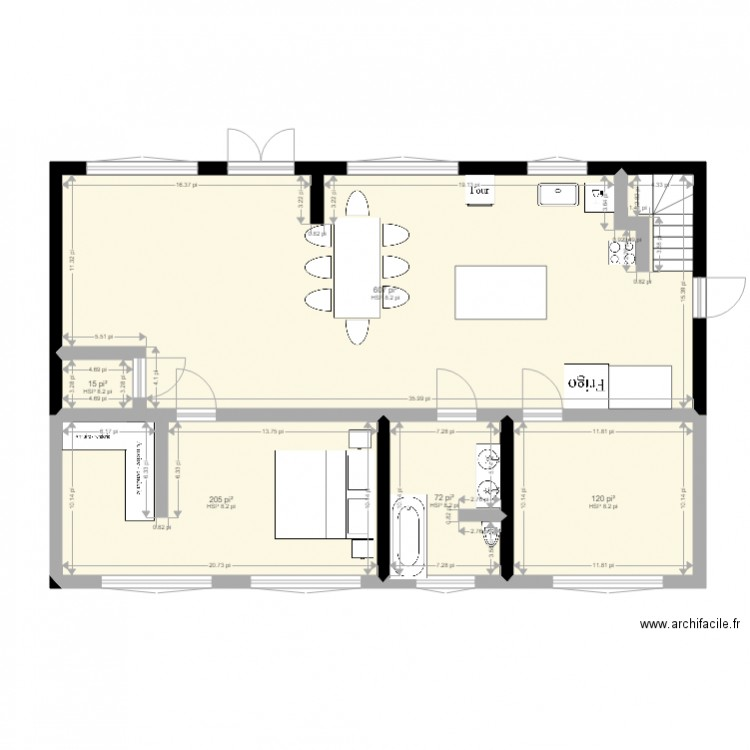 maison originale sans mur plan 5 pi ces 95 m2 dessin par dodoetjan. Black Bedroom Furniture Sets. Home Design Ideas