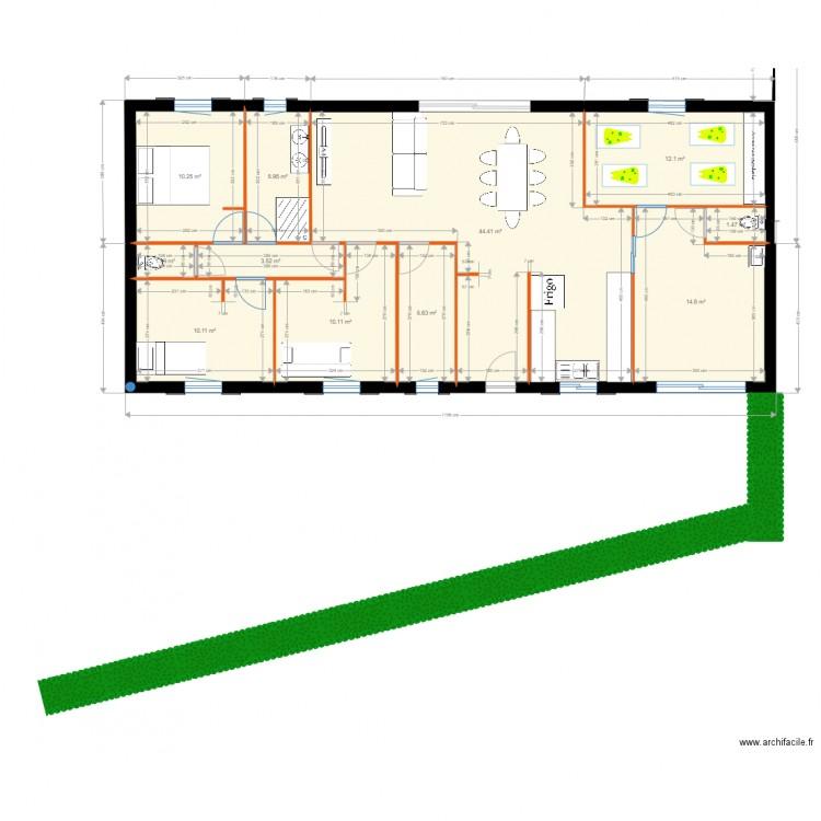 Maison 2 plan 11 pi ces 128 m2 dessin par serval 40 - Plan de maison 2 pieces ...