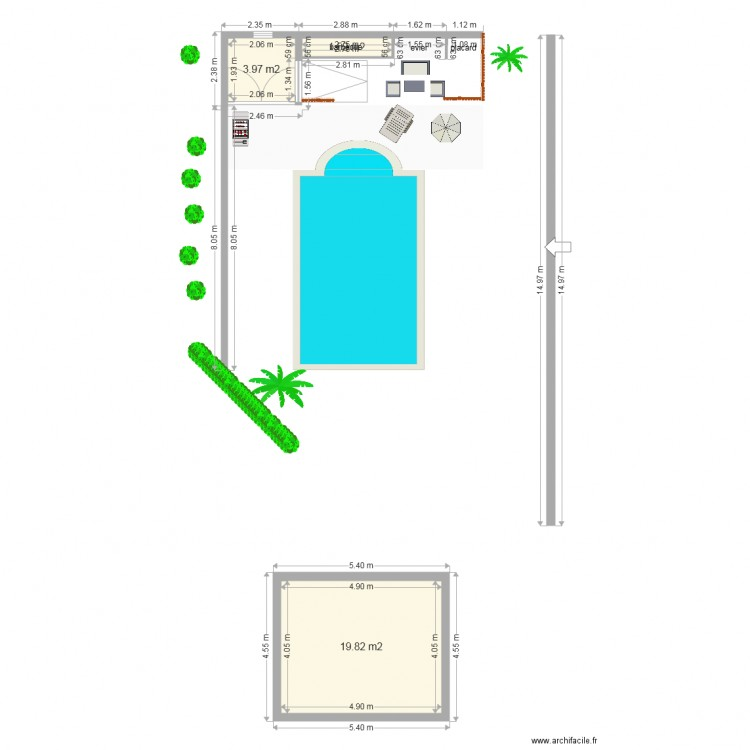 pool house piscine 2 plan 3 pi ces 25 m2 dessin par micha31. Black Bedroom Furniture Sets. Home Design Ideas