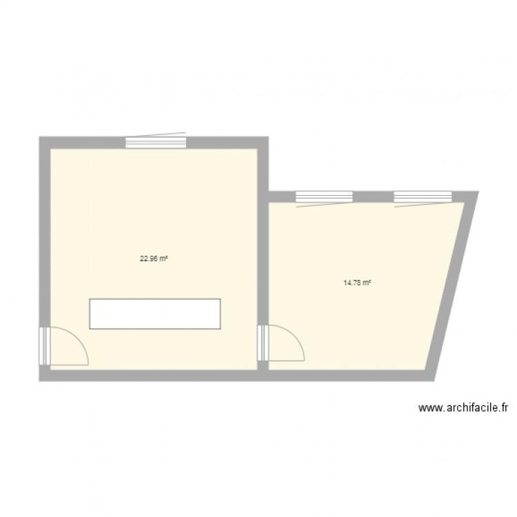 Bureau plan 2 pi ces 38 m2 dessin par ennesser for Nombre de m2 par personne bureau