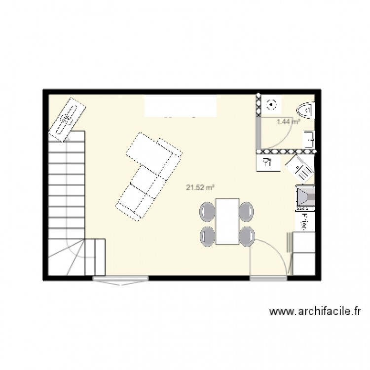 maison plan 2 pi ces 23 m2 dessin par rosinha4970. Black Bedroom Furniture Sets. Home Design Ideas