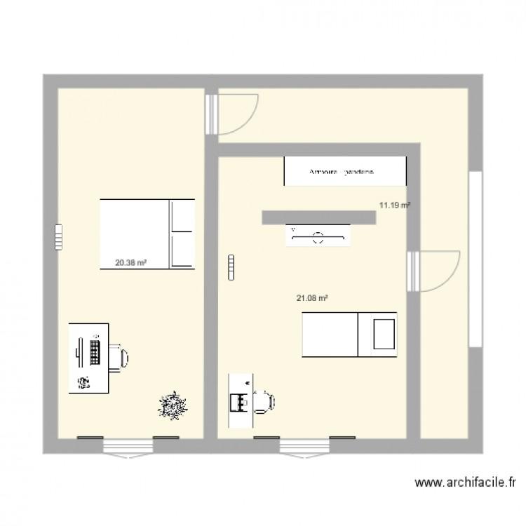 Agrandissement chambres plan 3 pi ces 53 m2 dessin par for Agrandissement chambre