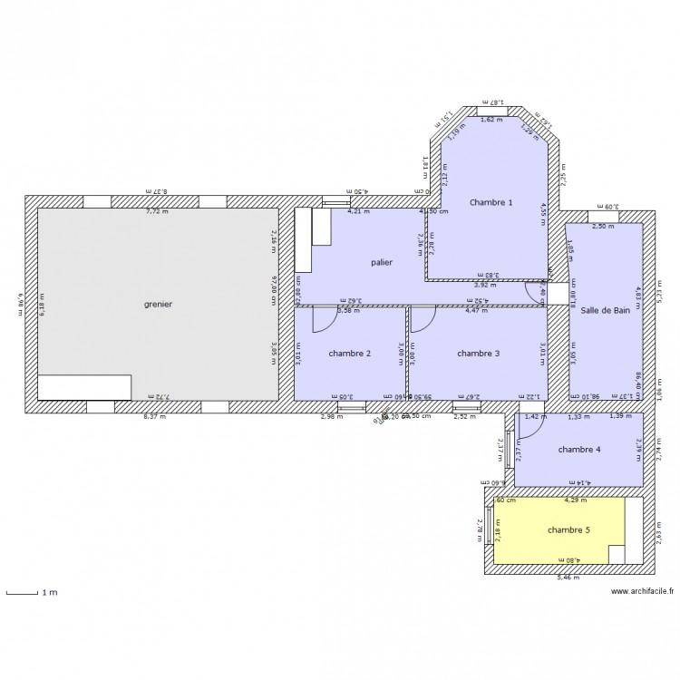 Maison chemill etage 1 plan 8 pi ces 140 m2 dessin par for Plan maison etage 140 m2