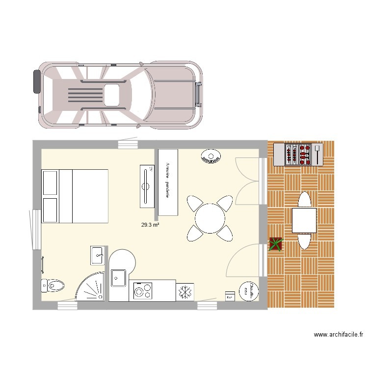 studio 30m2 plan 1 pi ce 29 m2 dessin par laure45800. Black Bedroom Furniture Sets. Home Design Ideas
