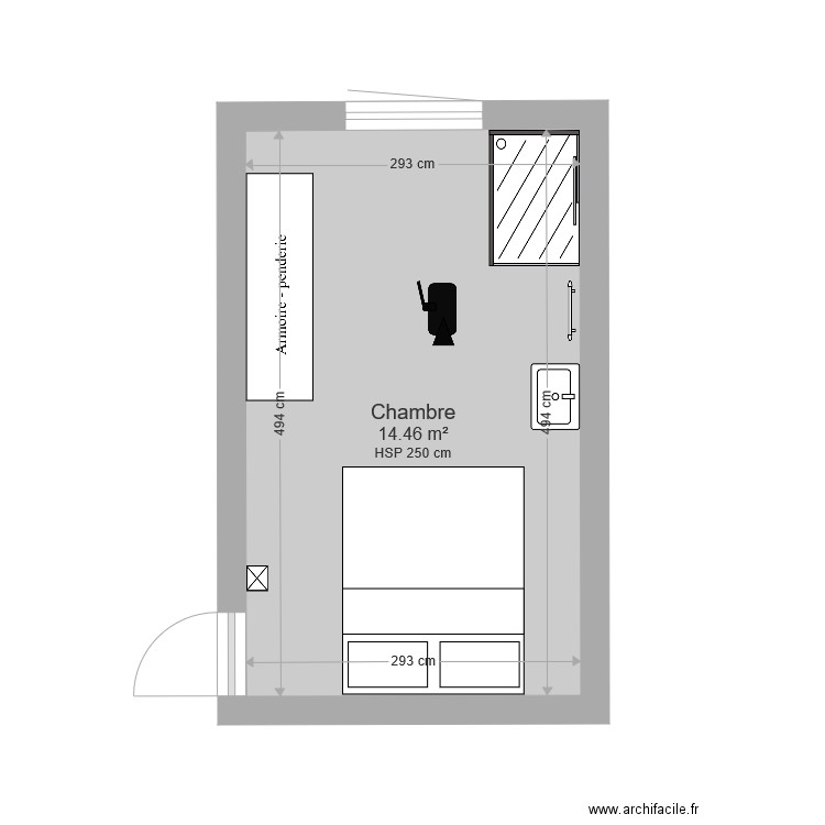 Chambre Salon Et Douche Interne Plan 4 Pièces 22 M2