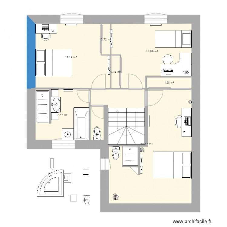 1er sans garage 7m x 9m avec avanc plan 7 pi ces 60 m2 dessin par spip94. Black Bedroom Furniture Sets. Home Design Ideas