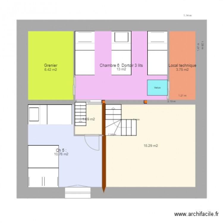 Chambre mezzanine v56 du 13 juin plan 6 pi ces 51 m2 for Chambre criminelle 13 juin 1972